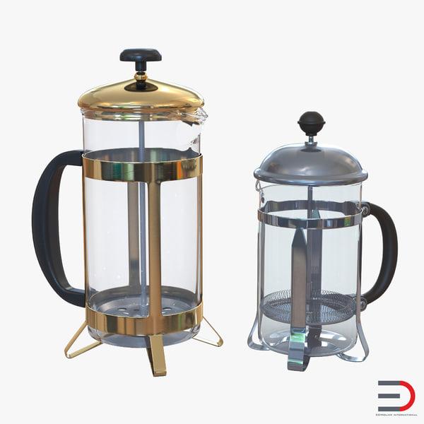 french press coffee pots 3d model