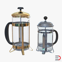 french press coffee pots 3d model