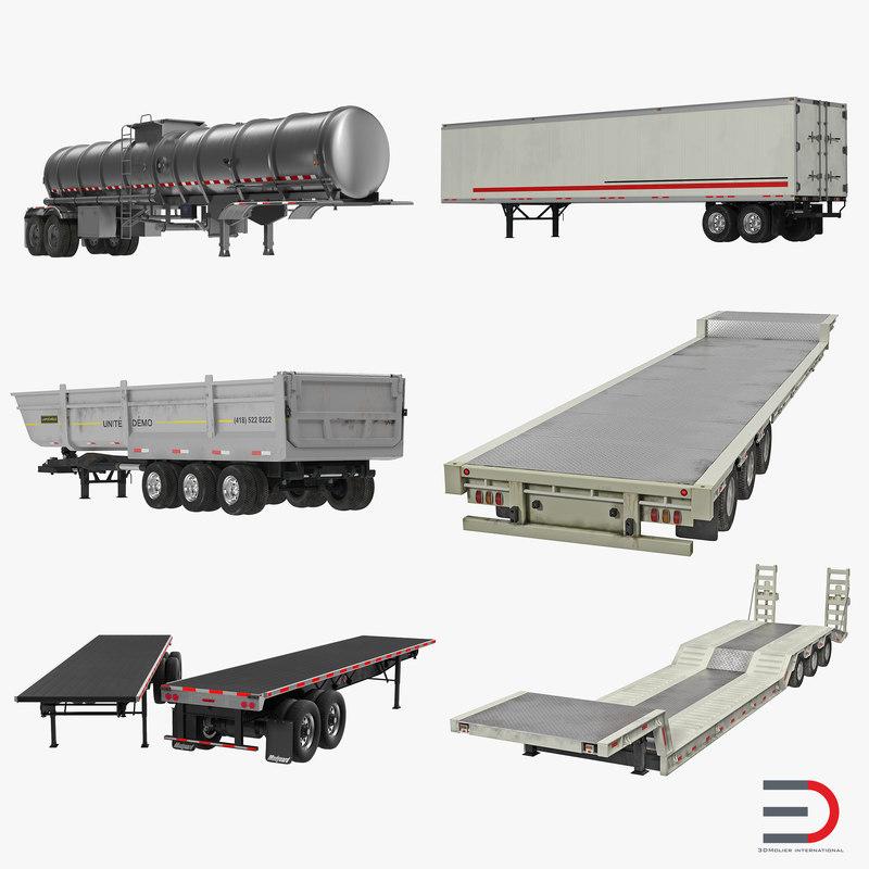 trailers 3 flatbed semi 3d obj
