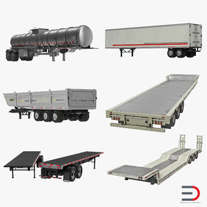 trailers 3 flatbed semi 3d obj