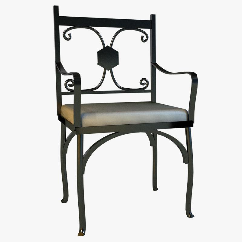 metal kitchen chair 3d model