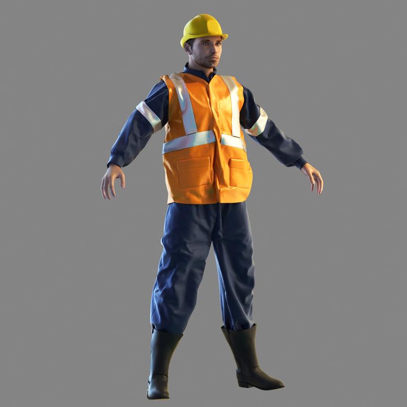 3d 3ds railway worker