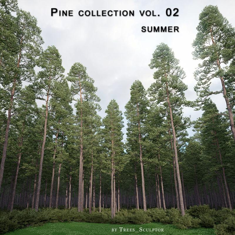 3d model pine-tree pine trees