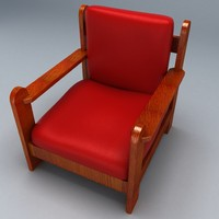 3d chair wooden arms