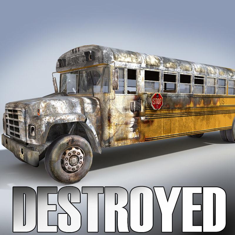 derelict school bus 3d model