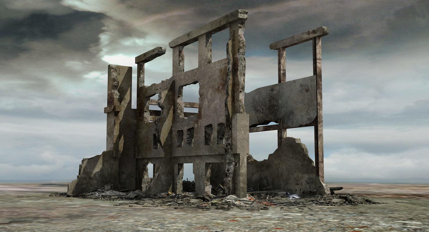 3d destroyed ruined building model