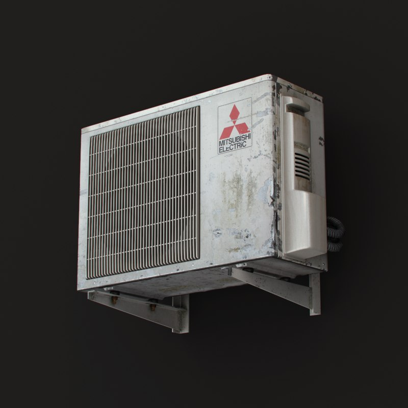 3ds max outdoor mitsubishi air conditioner