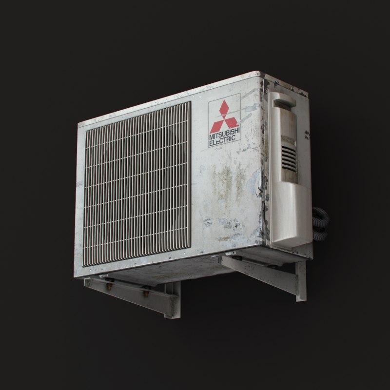 3ds max outdoor mitsubishi air conditioner