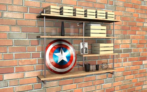 3d model of industrial shelf