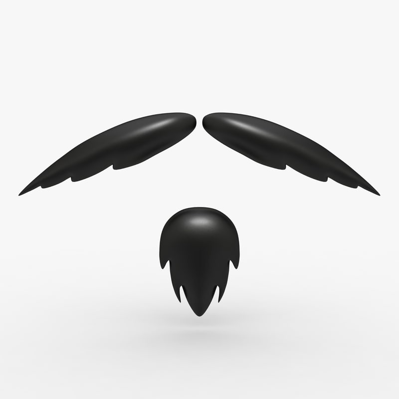 cartoon mustache 01 3d model