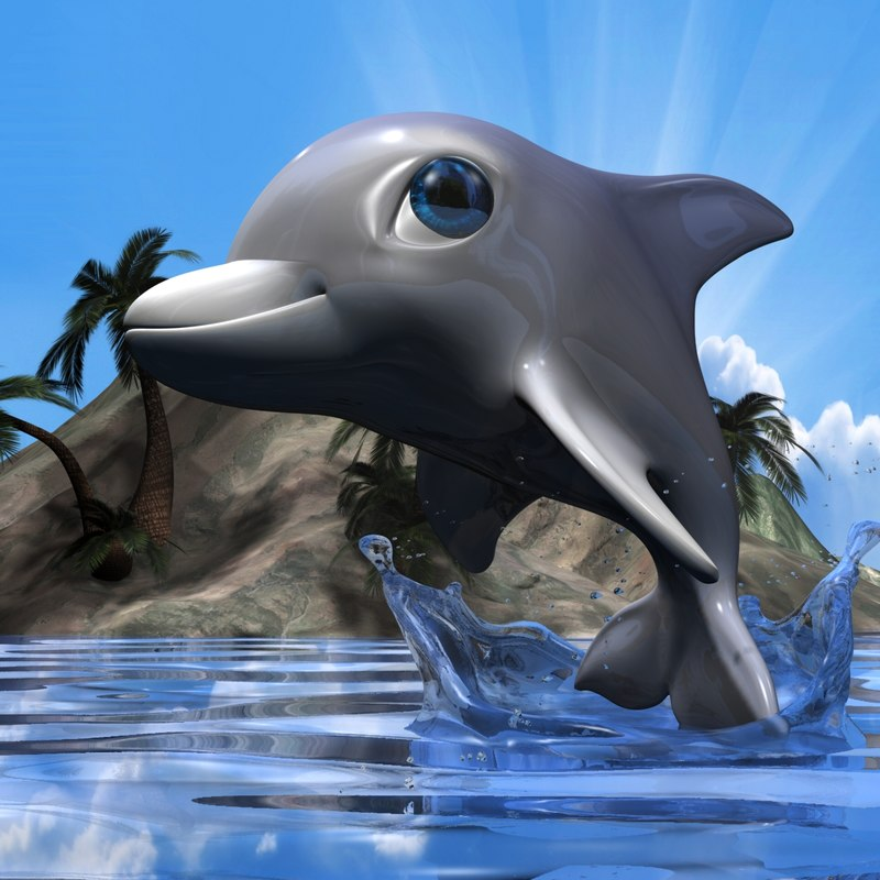 3d cute dolphin rigged model