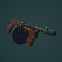 1928 thompson gun 3d model
