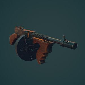 1928 thompson gun 3d model