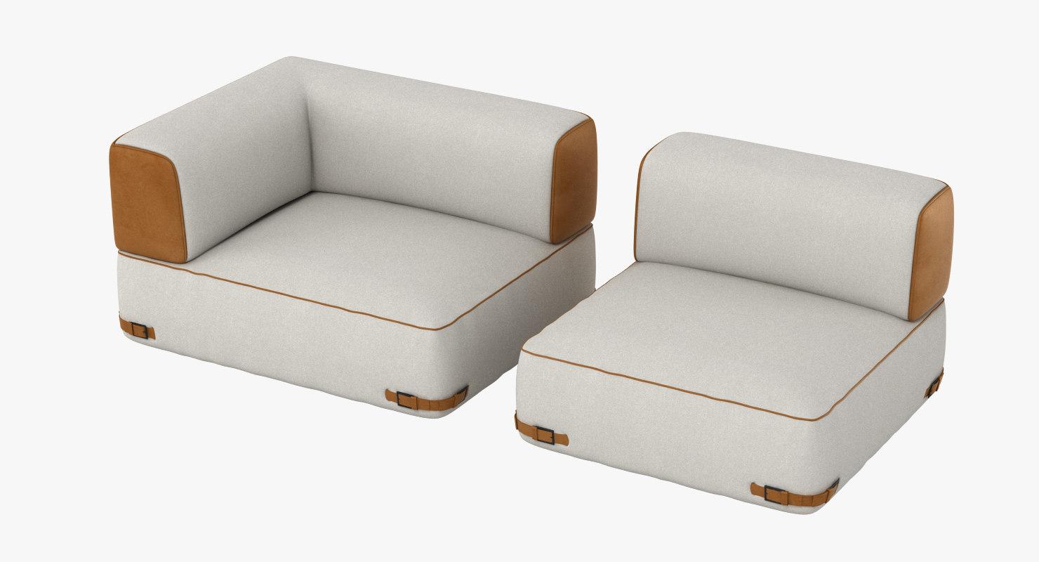 fendi soho sofa set 3d max