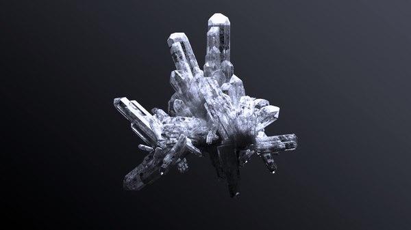 quartz cluster 3d model