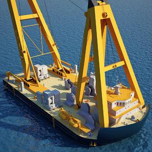 3d asian hercules floating crane