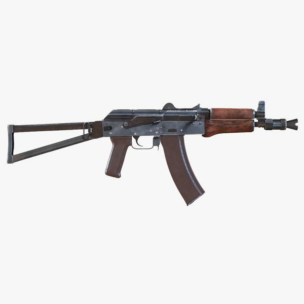 3d model assault rifle aks 74u