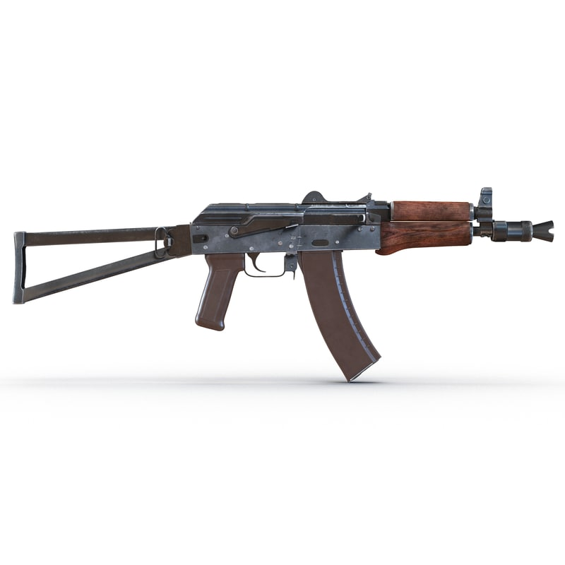 3d model assault rifle aks 74u