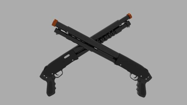 3d pump action shotgun gun