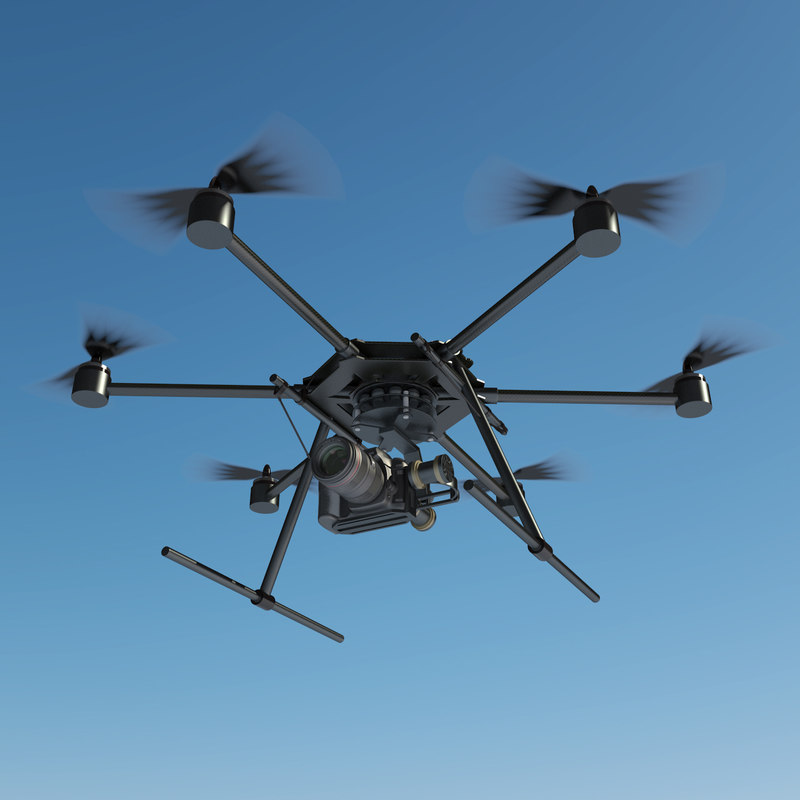 carbon fibre hexacopter drones 3d max