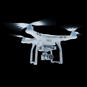 3d model dji phantom 3 quadcopter