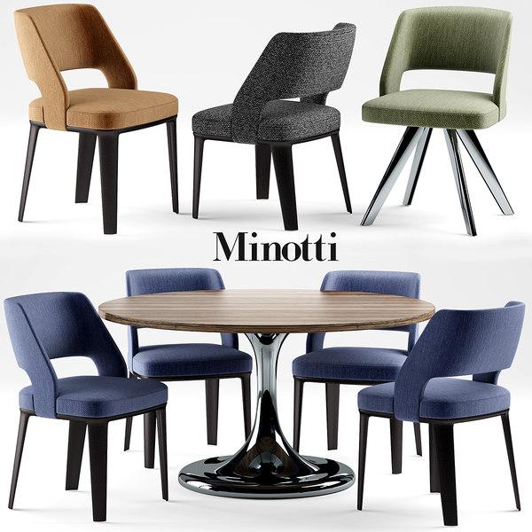 3d model chair minotti neto