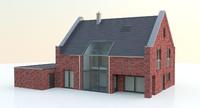 3d max modern brick home