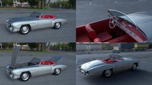 mercedes 190sl interior modeled 3d model