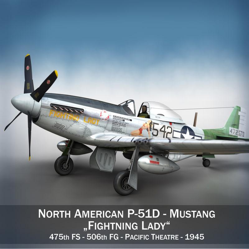 north american - fighting 3d model