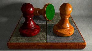 small chess board pawn 3d obj