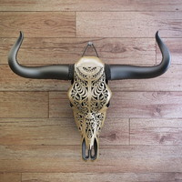 Cow skull carved
