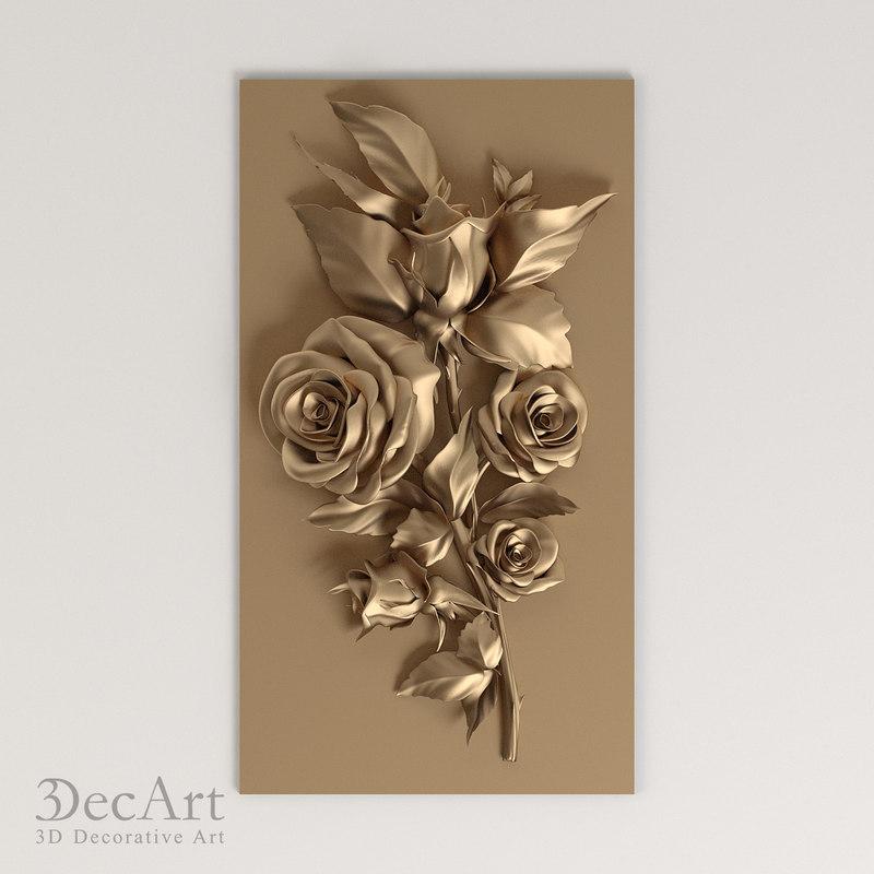 carved flower cnc 3d max