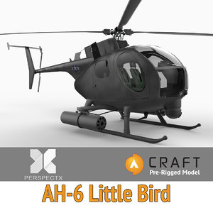 pre-rigged ah-6 little bird helicopter 3d model