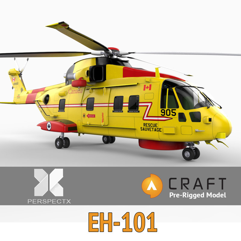 pre-rigged eh-101 helicopter craft 3d model