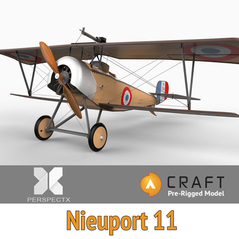 3ds max pre-rigged nieuport 11 biplane