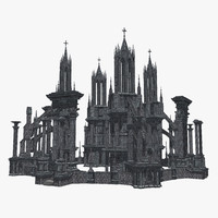 3d architectural arena gothic model