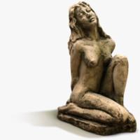3d asset girl garden statue model