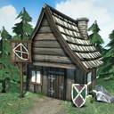 fbx cartoon viking village houses