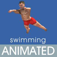 3d model of people swimming animations