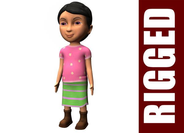 3dsmax rigged cartoon girl character