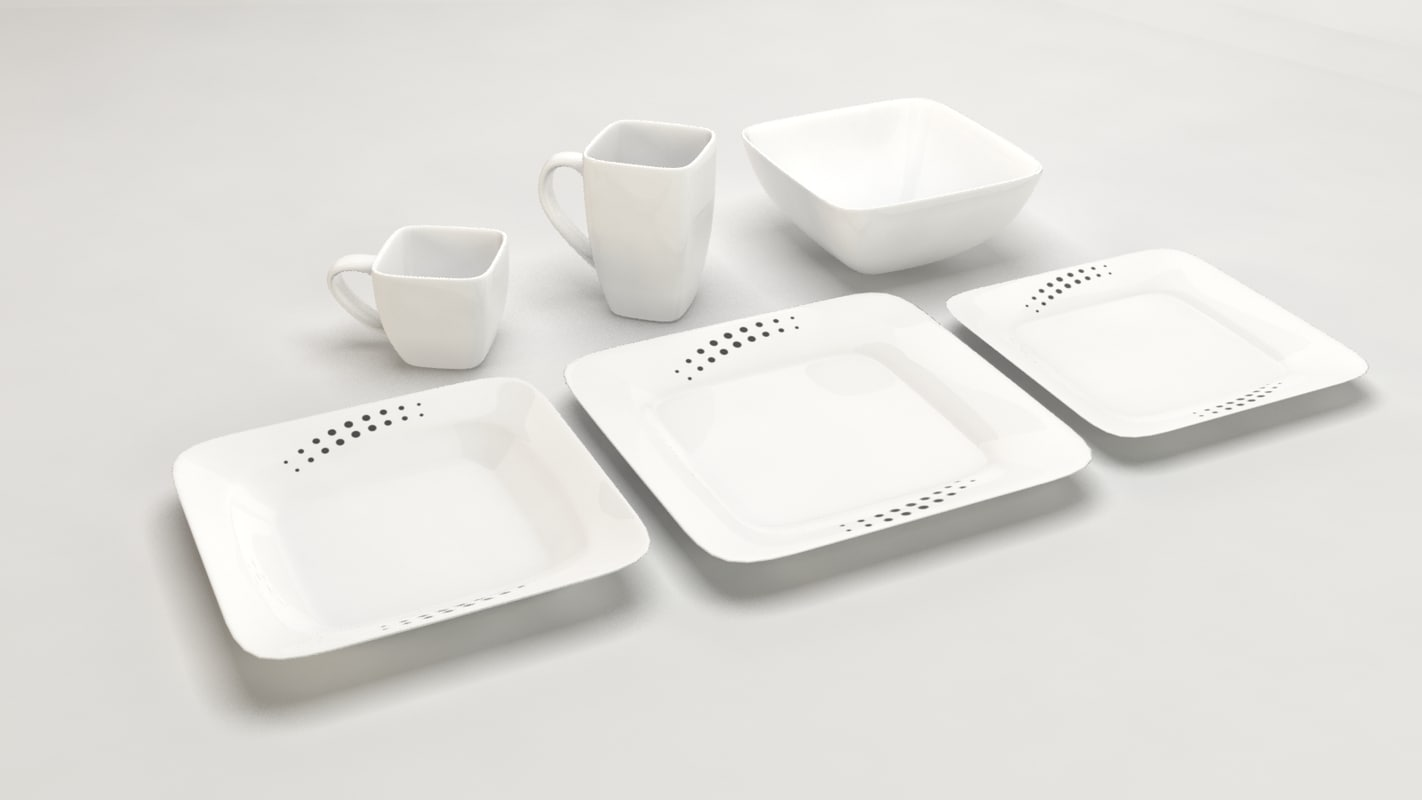design square dishes 3d model