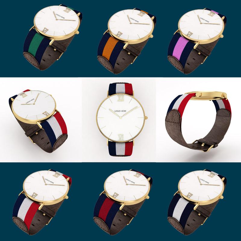 golden wrist watch cloth 3d model