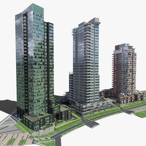 3d block office buildings model