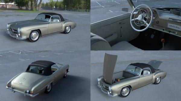 mercedes 190sl interior 3d model