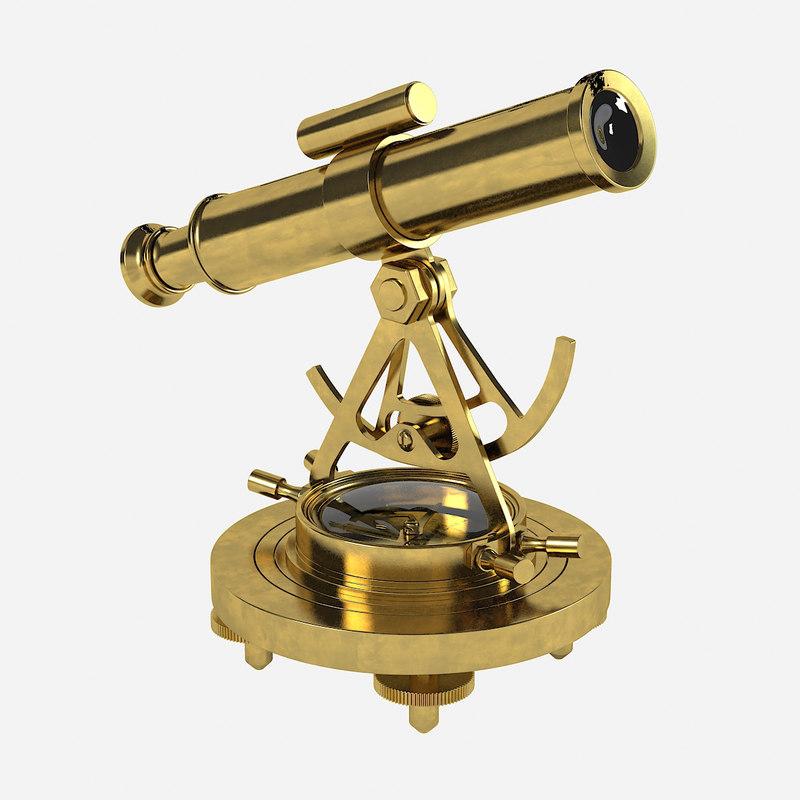 brass alidade compass 3d obj