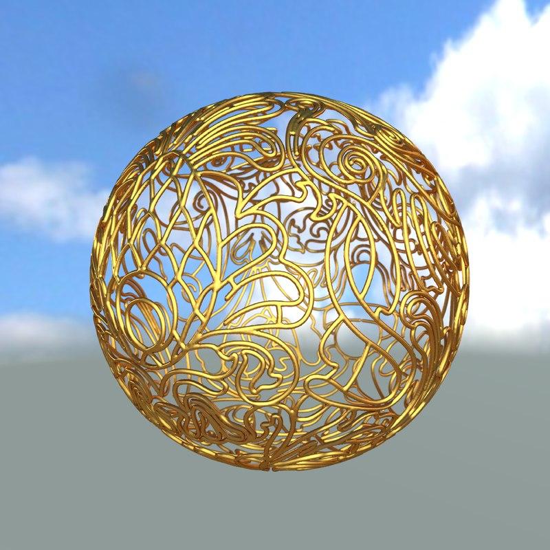 3ds max decorative sphere