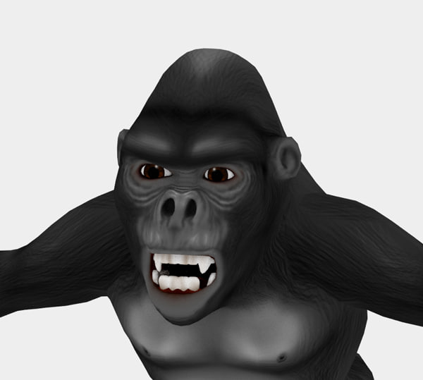 cartoon gorilla obj