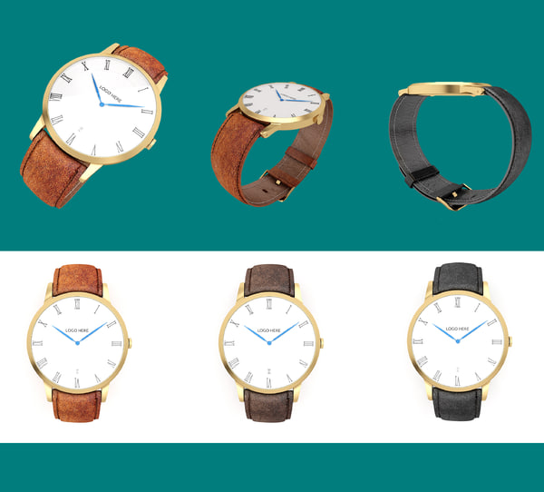 3d model golden wrist watch leather