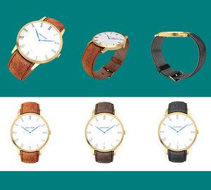 3d model golden wrist watch leather