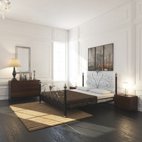 French Country Minimalist Bedroom Interior
